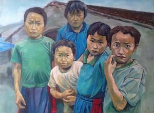 Village children, 90x120cm