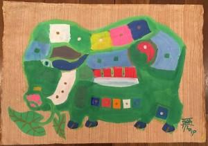 Green Pig, 2019, gouache on rice paper, 34x51cm